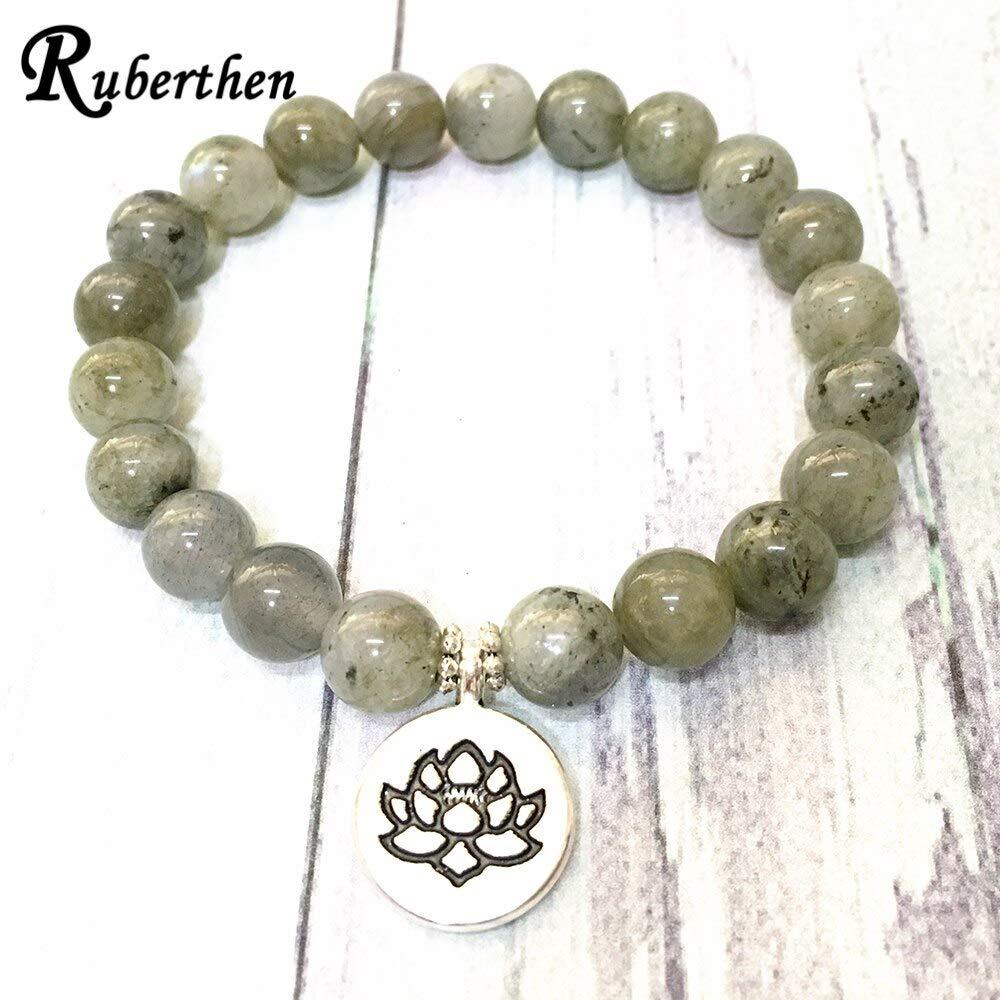 Metal Color: Buddha Charm A Grade Labradorite Lotus Charm Bracelet Natural Gem Stone Womens Energy Bracelet Best Meditation Practice Jewelry Manlouz Handmade Beads