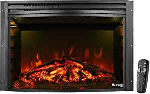 e-Flame USA Quebec 27-inch Electric Fireplace Stove Insert with Remote - 3-D Log and Fire Effect