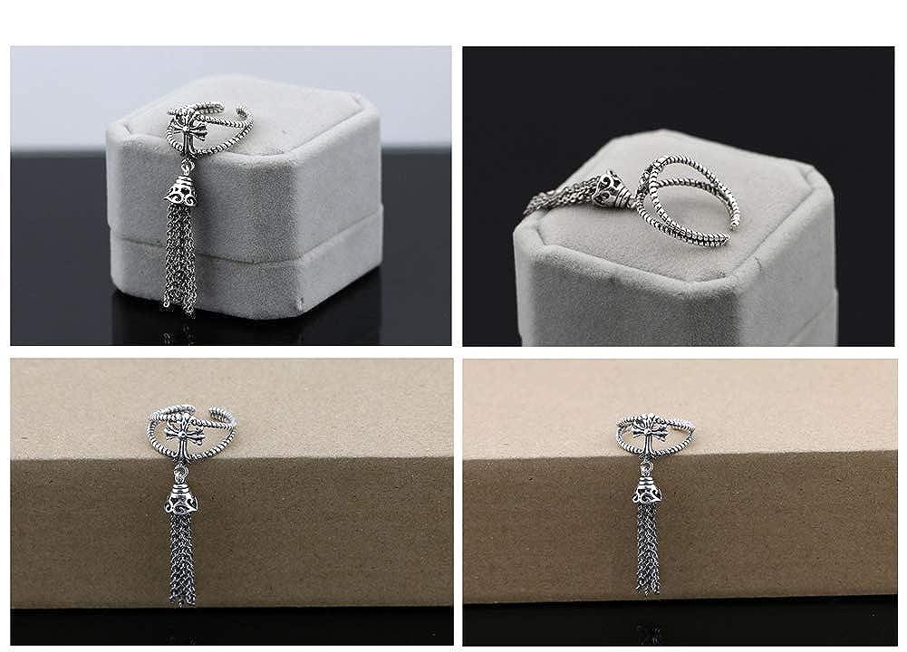 Brave Tour Vintage Thai Silver Plated 925 Silver Fringe Pendant Rings Headdress Cross Pendant Open Ring