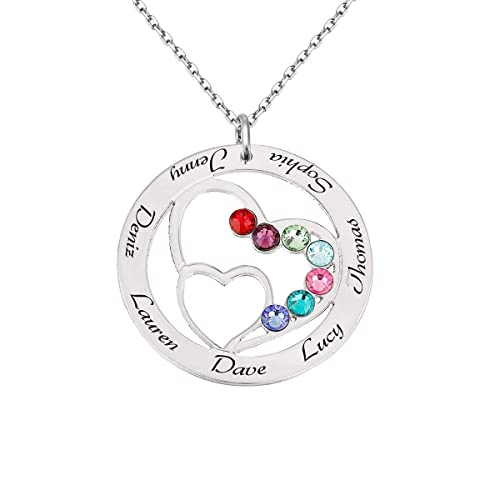 8958460b26d02 Dreamdecor Personalized 7 Names Necklace with Birthstones Heart Engraved  Custom Nameplate Necklace for Family