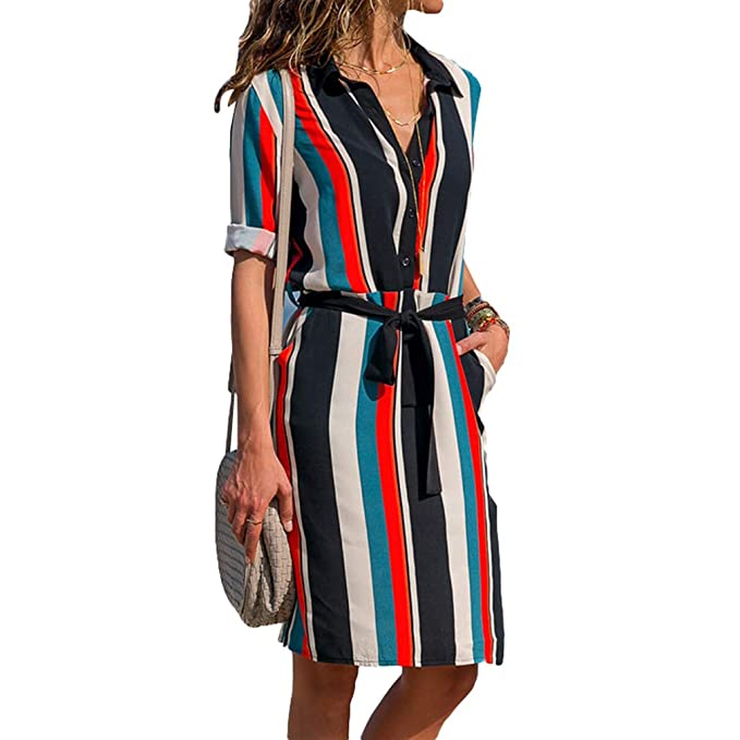 8ba224771 Women Striped Printed Long Sleeve Button Down Tie Waist Midi Shirt Dress  with Pockets A Line S-2XL: Amazon.co.uk: Clothing