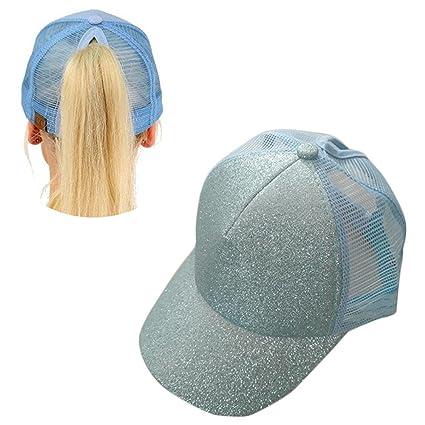 Aolvo azzurro Ponytail cappello da baseball personalizzato alta messy Bun  cappello da baseball regolabile Flatbill snapback f8930de81c2b