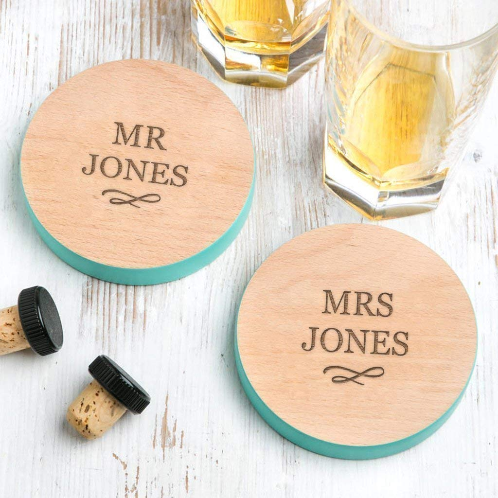 Personalised Coasters For Couples Mr And Mrs Coasters Wedding Presents For Bride And Groom Personalised Wedding Gift For Mr Mrs Amazon Co Uk Handmade