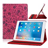 TOPCHANCES Slim Mordern Smart Cover Case for the iPad Air, iPad 5 with Auto Sleep/Wake Function Built in Stand-Green Embossed Flowerss Case (Humulan Red)