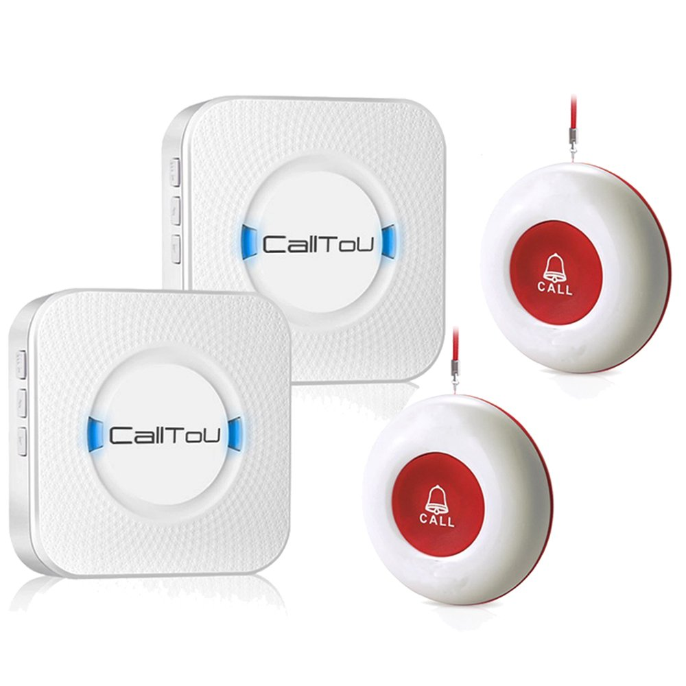 CallToU Wireless Caregiver Pager Smart Call System 2 SOS Call Buttons/Transmitters 2 Receivers Nurse Calling Alert Patient Help System for Home/Personal Attention Pager 500+Feet Plugin Receiver Alert by CallToU