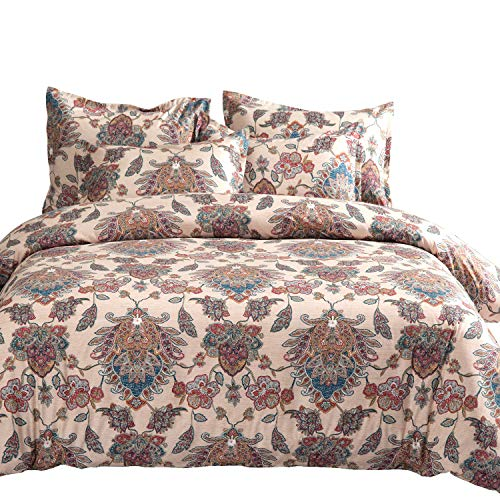 MIMONG Classy Paisely Regal Pattern Bedding Design, Extra Soft Microfiber Duvet Cover Set, Floral Blossom Style, Printed on Beige(3Pcs, King) (Bedding Paisely)