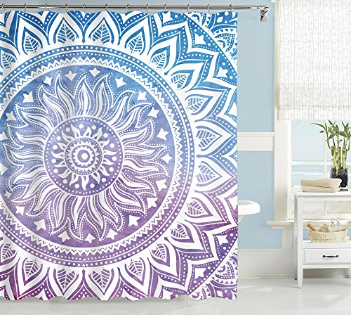 Uphome Fashion Waterproof Medallion Pattern Custom Bathroom Shower Curtain Polyester Fabric Bathroom Curtain Ideas (72