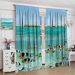 GUUVOR Ocean All Season Insulation Blacktip Reef Shark Chasing Butterfly Fish Lagoon of Bora Bora Tahiti Noise Reduction Curtain Panel Living Room W84 x L108 Inch Aqua Yellow and Black