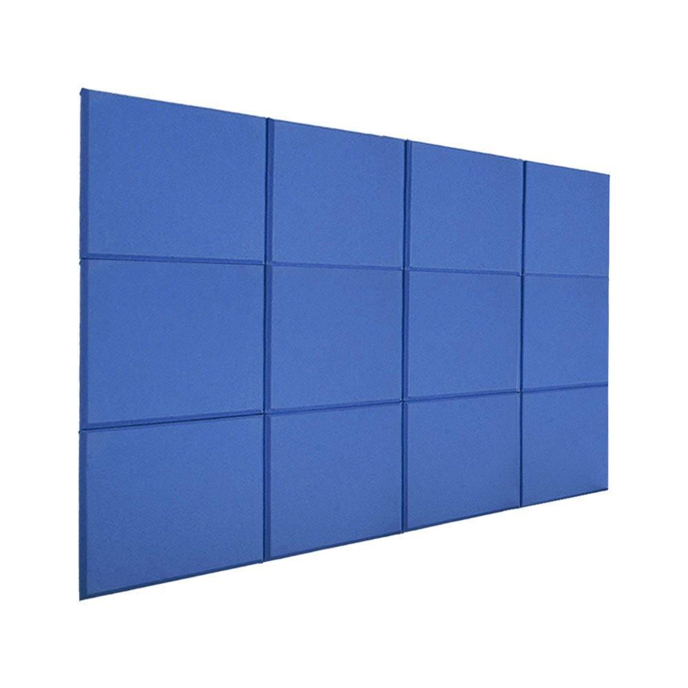 RDEXP 30x30x2.5cm Blue Sound Absorbing Foam Panel Tiles Fiberglass Home Studio Sound Insulation Panel Pack of 12 RDEXPAM RDN267322016