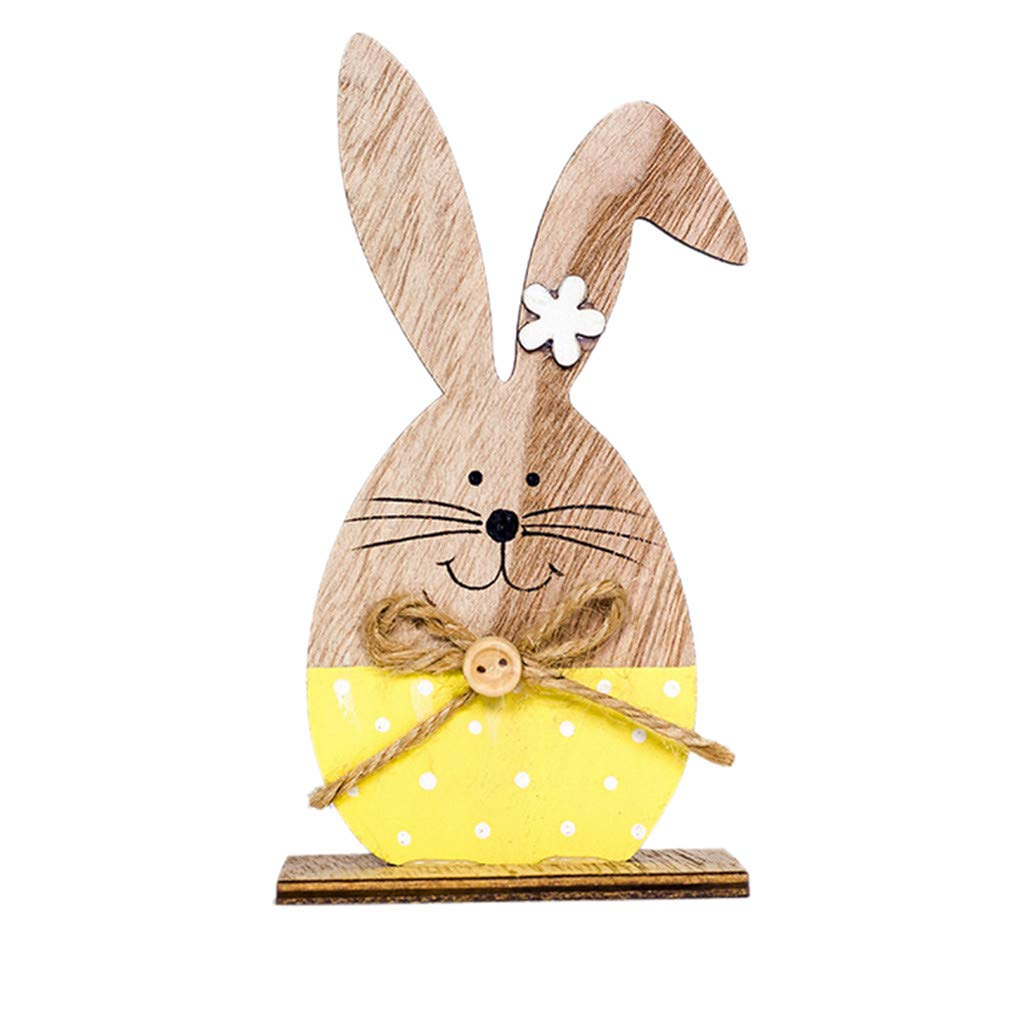 Yaida Easter Decorations Wooden Rabbit Shapes Ornaments Craft Gifts (Yellow)