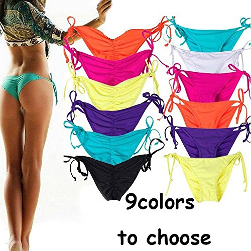 CROSS1946 Sexy Brazilian Ruched Semi Thong Bikini Bottom Women Tie Side by UPS S