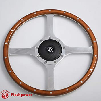 """MG MGB GT Classic 13/"""" Polished Riveted Wooden Rim Steering Wheel /& Boss Kit"""