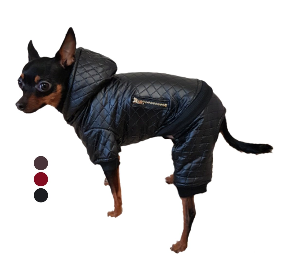 GabeFish Pet Pu Leather Style Detachable Coats For Small Dogs Animals Fashion Two Piece Four Legs Snap Button Hood Jacket Black Medium