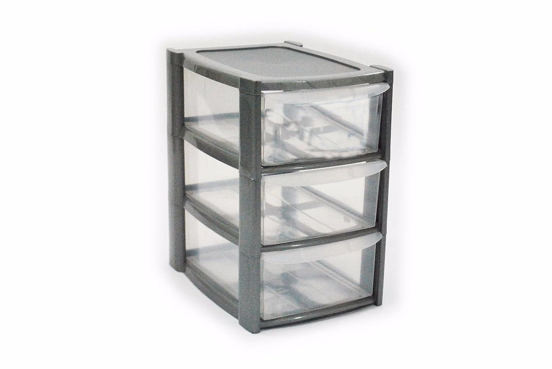 3 Drawer Mini Small Plastic Storage Tower Silver Viss