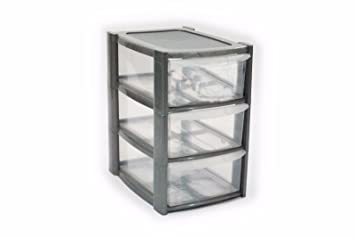 Genial 3 Drawer Mini Small Plastic Storage Tower Silver