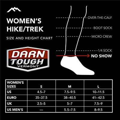 Womens No Show Lightweight with Cushion Hike Trek Sock Style 1986 Darn Tough