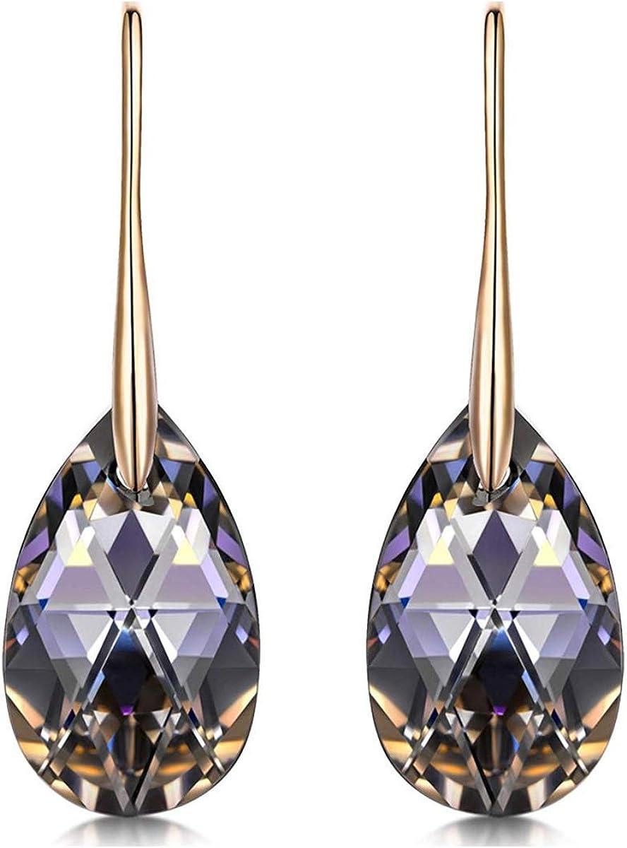 MINCHEDA Pendientes Cristal para Mujer con Colgantes Lágrimas con Cristales de Swarovski, Regalo de Día de San Valentín, Navidad, Cumpleaños