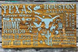 State of Texas Abstract wood engraved map