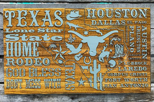 State of Texas Abstract wood engraved map by Fire & Pine