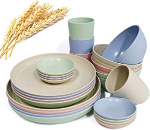 20 Pcs Large Kitchen Dinnerware Set, Wide and Shallow Pasta Plates, Salad Dishes, Soup Bowls, Sturdy and Durable Camping Dessert Dinner Dishes Set, Sauce Dish Plate (style 1)