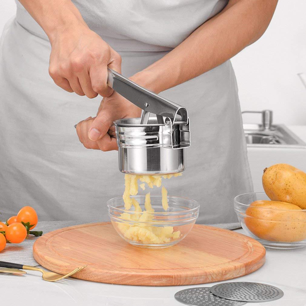 3 in 1 Potato Ricer Ondulate Patate Fango Maker di Verdure Crusher In AcciaioInox Argento