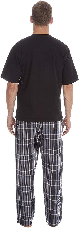 Mens Pyjamas Set Short Sleeve Top /& Woven Long Bottoms Pants