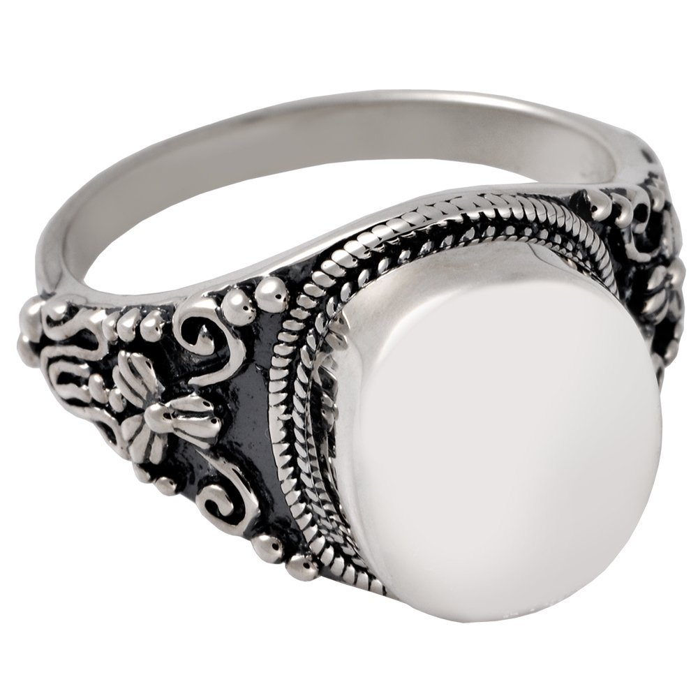 Memorial Gallery 2004s-9 Antique Round Ring Sterling Silver Cremation Pet Jewelry, Size 9 by Memorial Gallery