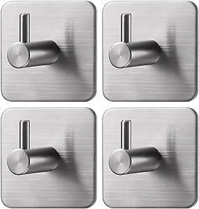 Jekoo Adhesive Hooks Heavy Duty, Towel Hooks Hangers Stainless Steel Brushed Nickel for Bathroom Kitchen Garage Heavy Duty Wall Mount Coat Hanging Rack - 4 Packs