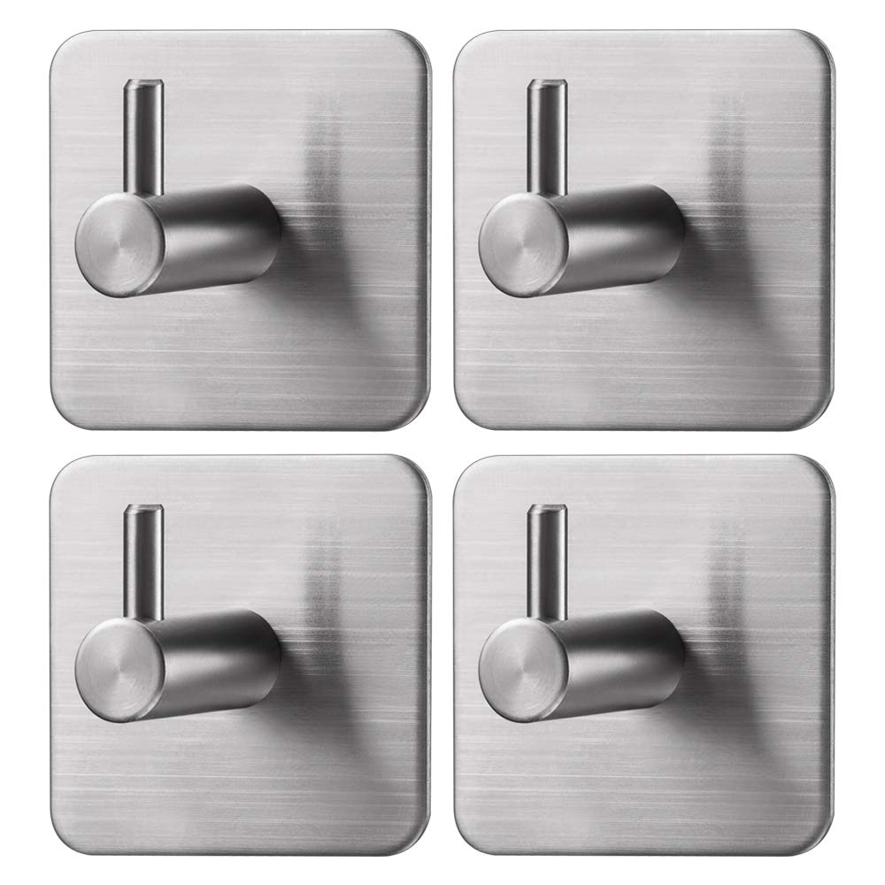 Jekoo 3M Adhesive Hooks, Towel Hooks with Stainless Steel Brushed Nickel for Bath Kitchen Garage Heavy Duty Wall Mount Coat Hanging Rack - (4 Pack) product image