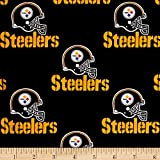 Fabric Traditions NFL Cotton Broadcloth Pittsburgh Steelers Black Fabric By The Yard