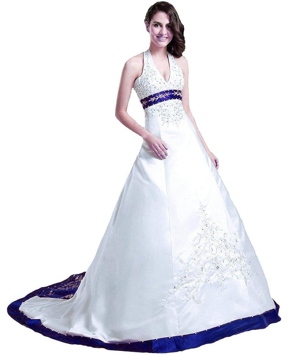 White bluee Vantexi Women's Halter Neckline Satin Embroidery Bridal Wedding Dresses