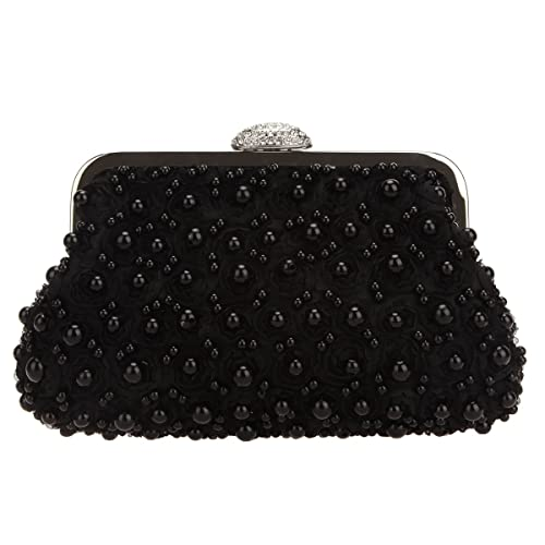 5fa81ba02e Fawziya Pearl Flower Purse Women's Small Rose Evening Clutch Bags-Black