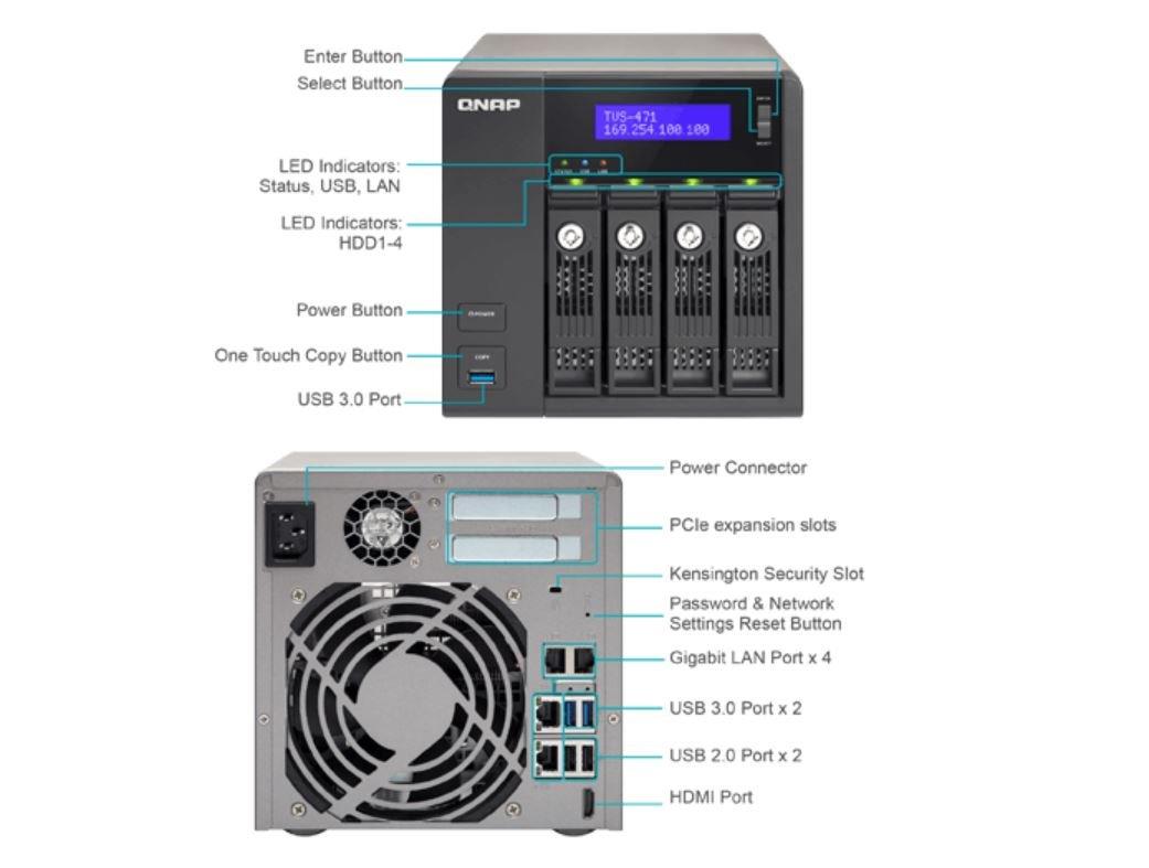 QNAP TVS-471 NAS Torre Ethernet Negro - Unidad RAID (32000 GB, Unidad de disco duro, Unidad de disco duro, SSD, Serial ATA II, Serial ATA III, 8000 GB, ...