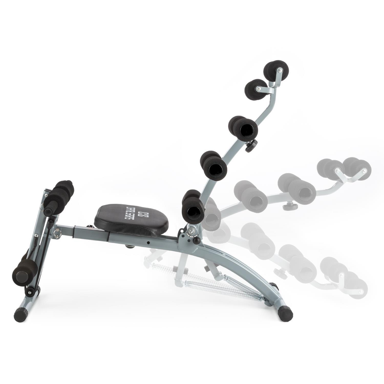 Capital Sports Sixish Core banco de ejercicios (entrenamiento abdominales, brazos y espalda, múltiples posiciones, curler, cintas de tracción elásticas, ...