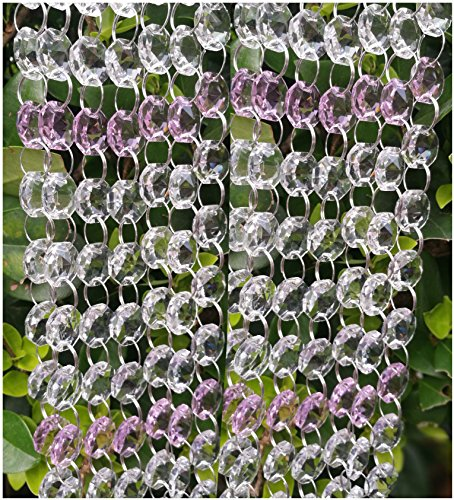 13.1 Feet DIY Clear &Colours Crystal Beads for Wedding Party Tree Garlands Home Decoration (Clear+Pink)