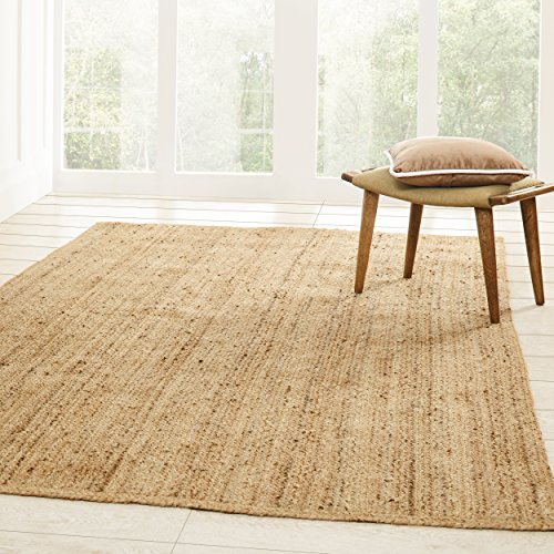Superior Hand Woven Natural Fiber Reversible High Traffic Resistant Braided Jute Area Rug, 5