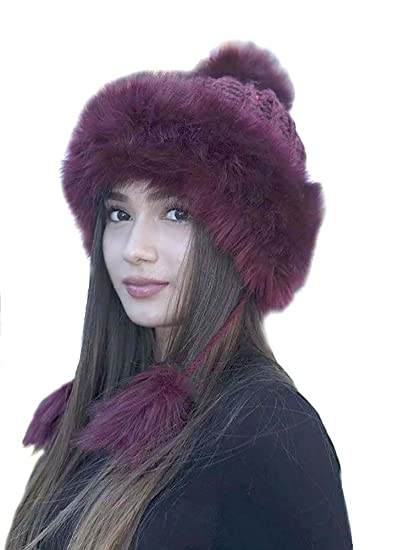 422a61d703013 Super Furry Vegan Pom Pom Cold Weather Knit Beanie Hat Womens - Burgundy