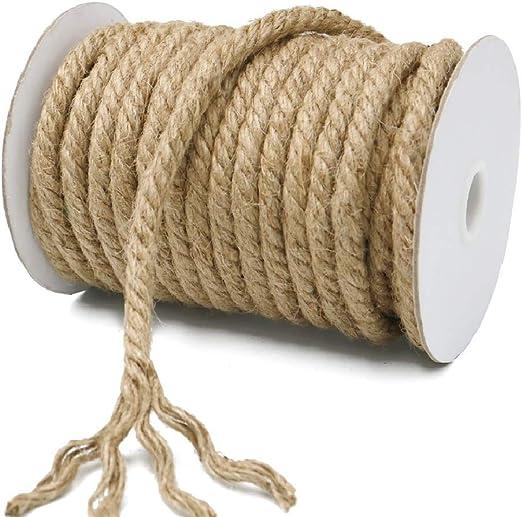 KINGLAKE - Cuerda de Yute Gruesa para jardín, 10 mm, Cuerda de cáñamo, Cuerda de Yute Gruesa para Envolver, decoración del hogar, jardinería: Amazon.es: Jardín