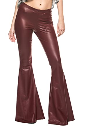 12ce4a630ff40a Women's Vintage 70s Glam Rock and Roll Indie Wide Leg Flared Bell Bottom  Pants at Amazon Women's Clothing store: