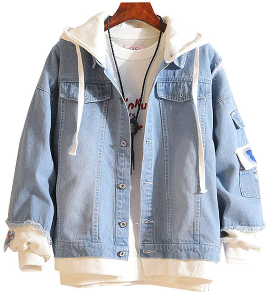 LifeHe Men Denim Jacket with Hoodie with Patches Oversized (Light Blue, L) by LifeHe