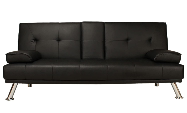 Clic Clac Sofa Bed Black Faux Leather Baci Living Room