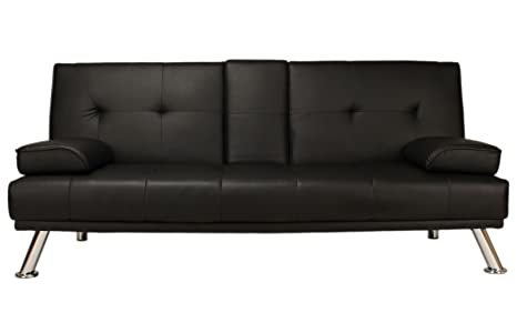 Awesome Sofa Bed Black Faux Leather Click Clack Double Settee 2 To 3 Seater Modern Couch With Cup Holder Table Two Pillows And Chrome Feet Living Room Gues Complete Home Design Collection Barbaintelli Responsecom