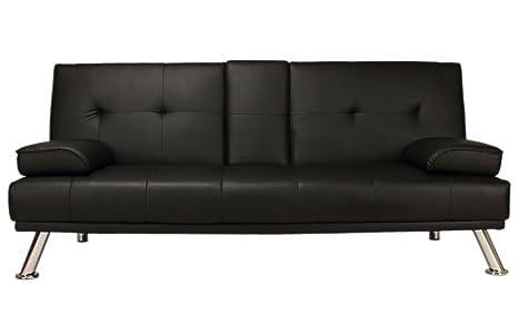 Sofá cama de piel sintética de color negro, dos cojines ...