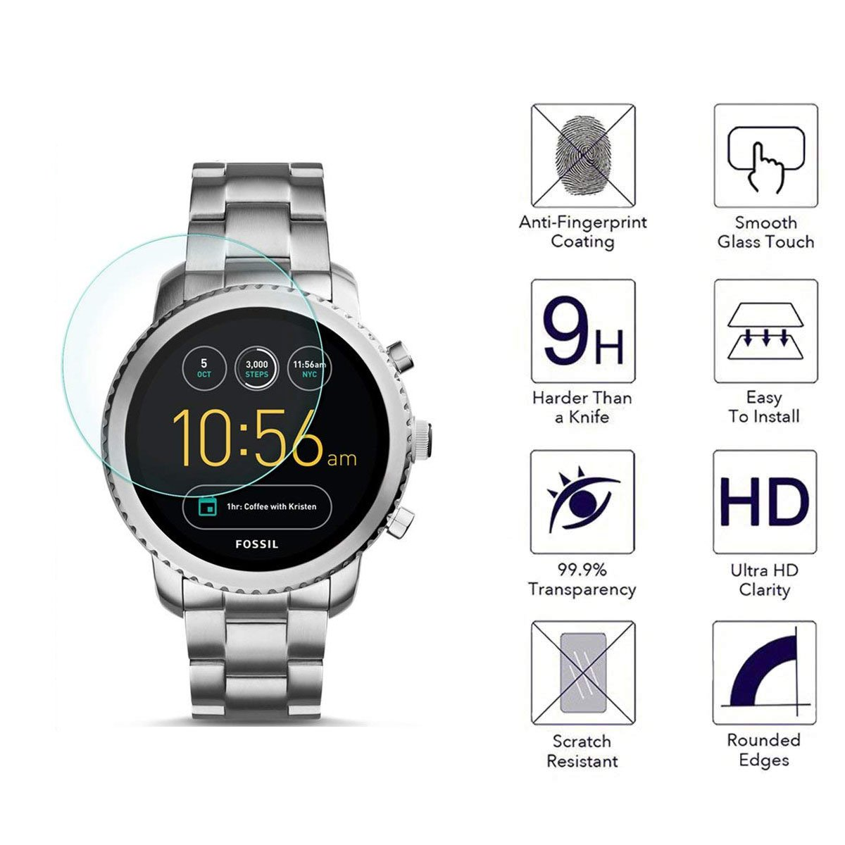 FINENIC [3 Pack] Screen Protector for Fossil Q Explorist Gen 3 smartwatch. [ 9H Tempered Glass] [No White Edge][Easy-Install] …