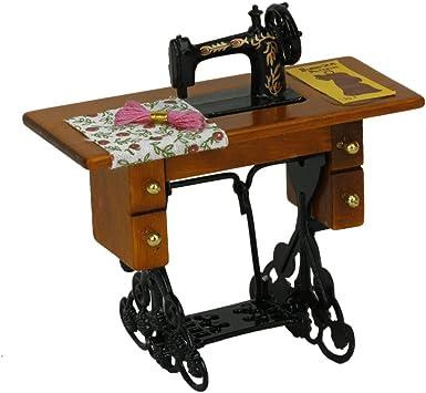 Sonline Maquina de coser miniatura de la vendimia con el pano para la escala 1/12 dollhouse decoration: Juguetes y juegos - Amazon.es