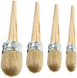 4 PCS Chalk Paint Wax Brush Set – Natural Bristle Round Wax Brush for Painting or Waxing Furniture Home Décor