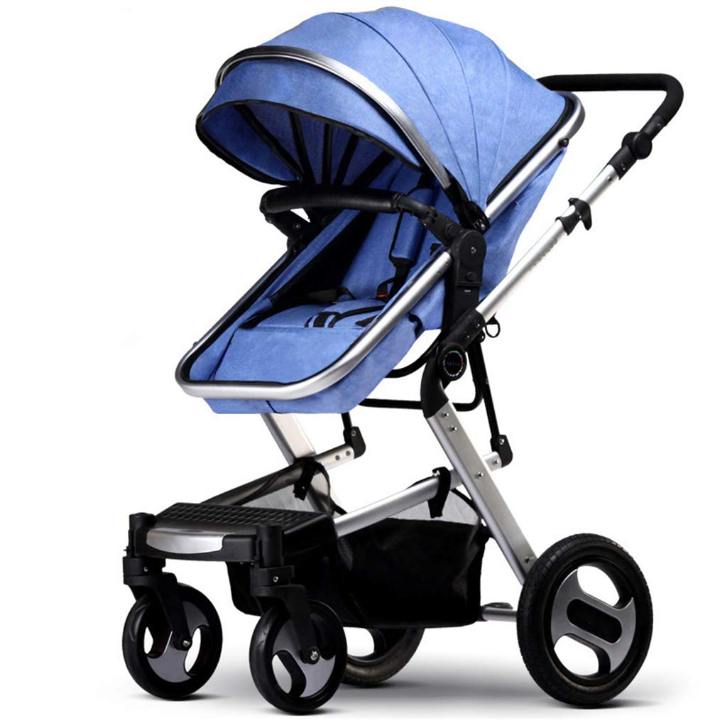 High Landscape Baby Trolley Four-Wheel Suspension Foldable Two Way Comfortable Linen Lightweight Stroller,Blue,8140115m
