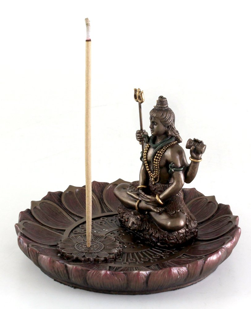 Top Collection Hindu God Shiva in Meditation Round Incense Holder Plate Incense Burner by Top Collection (Image #3)