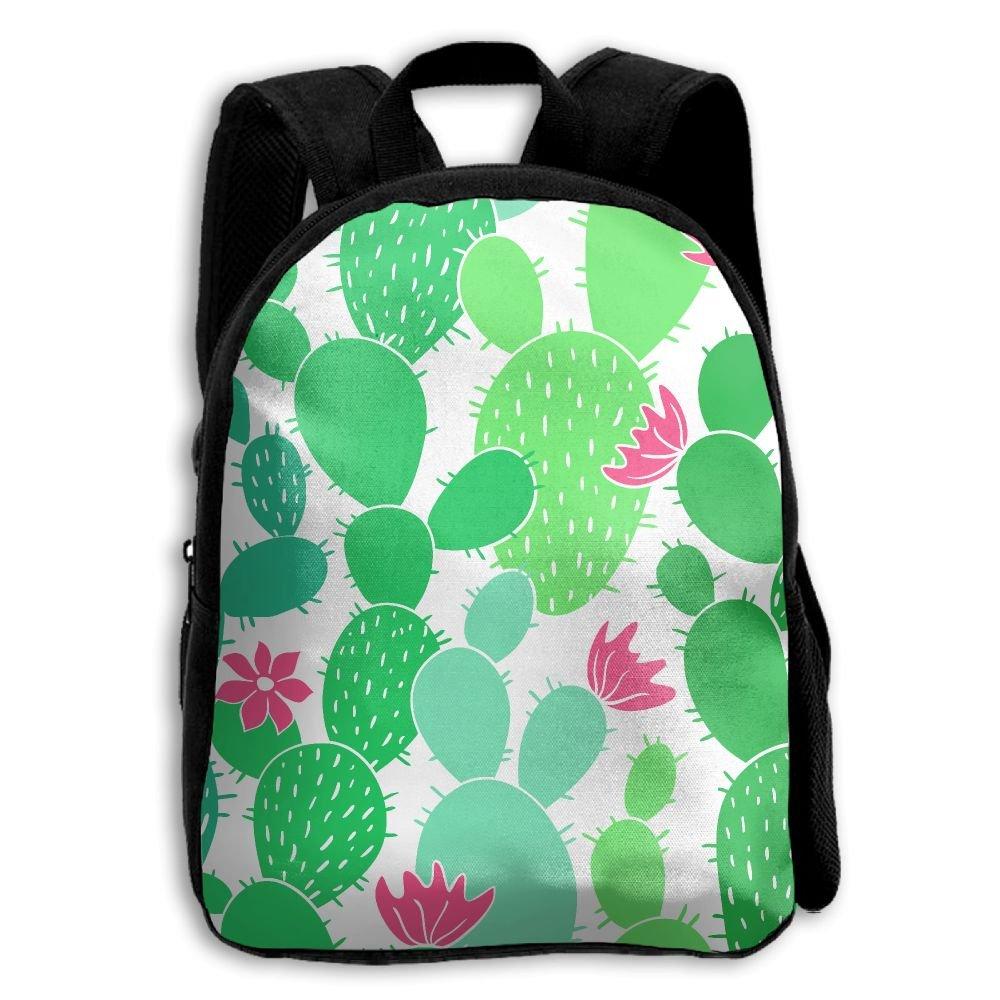 Kids School Bag Double Shoulder Print Backpacks Cacti Repeat Green Travel Gear Daypack Gift by LAUR