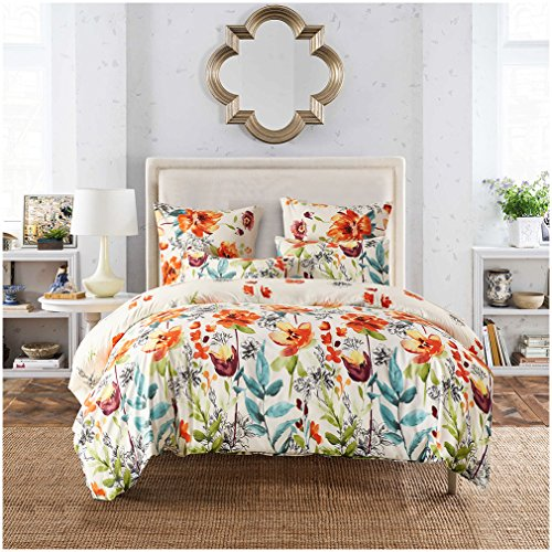 Lightweight Duvet Cover Sets,Ultra-Soft Microfiber,Gorgeous Floral Pattern Design(King) (Where To Buy Duvet Cover)
